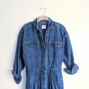 Vtg 80s Blue Denim Boiler Jumpsuit Coveralls Sz L